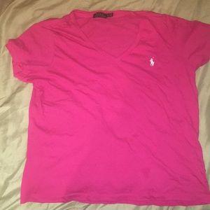 pink ralph lauren polo t-shirt